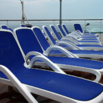 Alfa Sun Lounger – Blue and White (Pictured on the Deck of a Cruise Ship after some Weather)