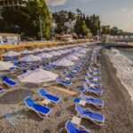 Alfa Sun Loungers – Blue and White (Pictured on a beach, by the Ocean)