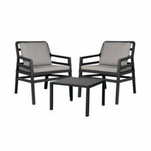 Aria 3 Piece Balcony Setting - Charcoal with Grey Cushions