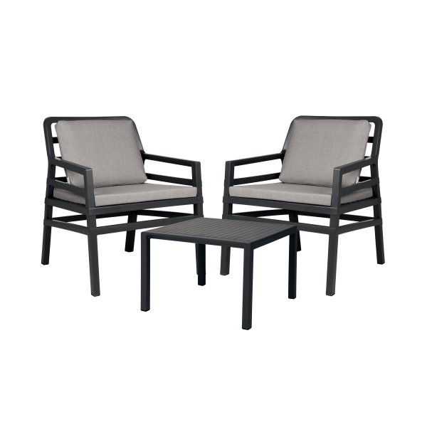 Aria 3 Piece Balcony Setting – Charcoal with Grey Cushions