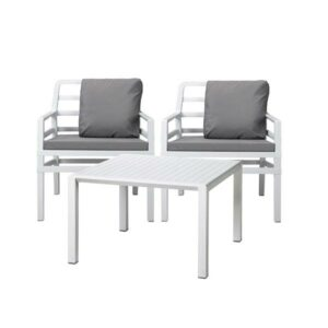 Aria 3 Piece Balcony Setting - White with Grey Cushions