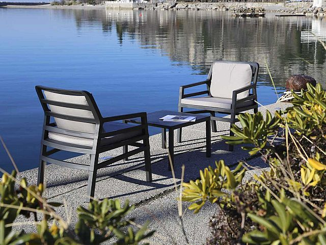 Aria 3 Piece Balcony Setting in Charcoal with Grey Cushions Pictured Lakeside