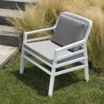 Aria Luxury Patio Arm Chair (White & Grey) on lawn
