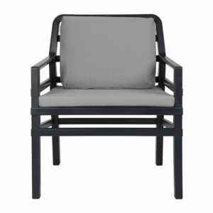 NARDI Aria Luxury Patio Armchair - Charcoal Frame & Grey Cushions