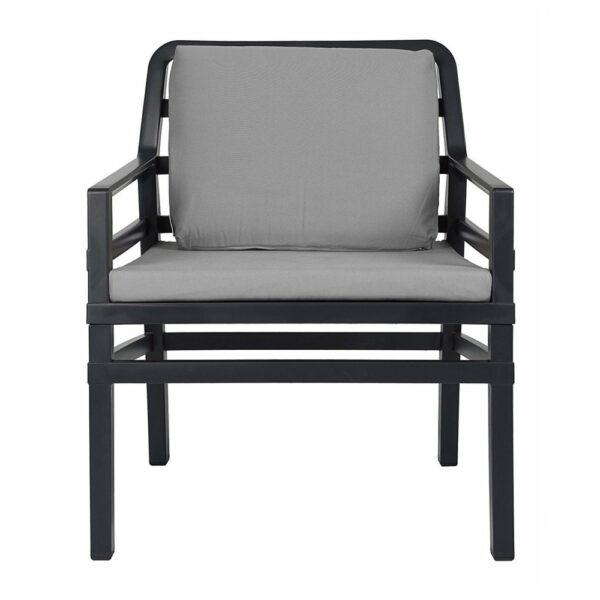 NARDI Aria Luxury Patio Armchair - Charcoal Frame & Grey Cushions