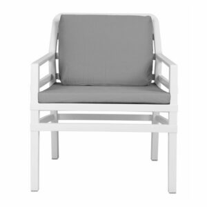 NARDI Aria Luxury Patio Armchair - White Frame & Grey Cushions