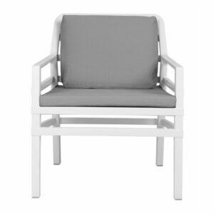 NARDI Aria Luxury Patio Armchair - White Frame & Grey Cushions