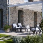 Aria Luxury Patio Armchairs (Charcoal with White Cushions) – Pictured in an Outdoor 5 Piece Deck Setting