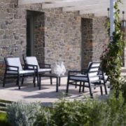 Aria Luxury Patio Armchairs (Charcoal with White Cushions) – Pictured in an Outdoor 5 Piece Deck Setting Thumbnail