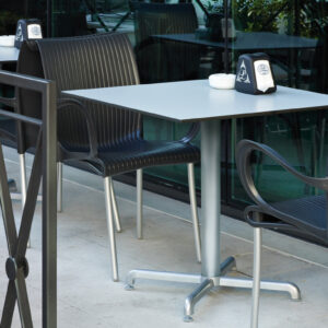 Calice Table Base in Silver with HPL table top