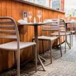Costa Bistro Chairs in Taupe with Spritz Table in Taupe in Restaurant