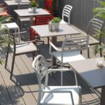 Costa Bistro and Arm Chairs with Fiore Tables in Outdoor Cafe