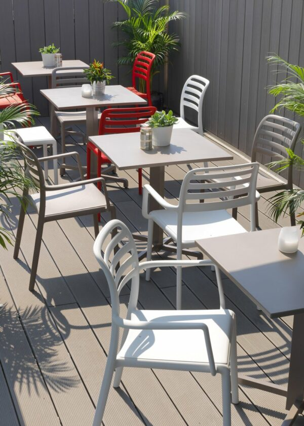 NARDI Costa Bistro and Arm Chairs with Fiore Tables in Outdoor Café