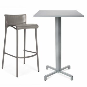 Fiore Bar Leaner Base (Silver) with Durel Table Top (Silver) & Duca Bar Stool (Taupe)
