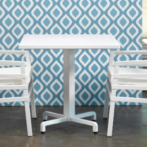 Fiore Table Base (White) with Aria Chairs – White Frame & White Cushions
