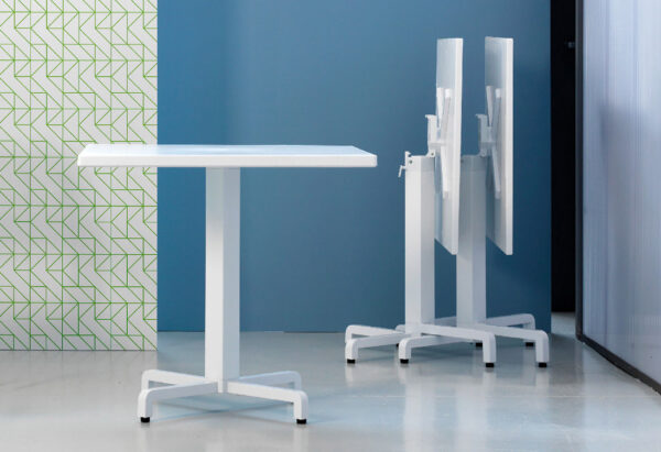 Ibisco Folding Table Bases (White) - Showroom image, Horizontal Stacking in Background