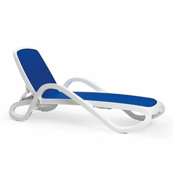 NARDI Alfa Sun Lounger - White & Blue