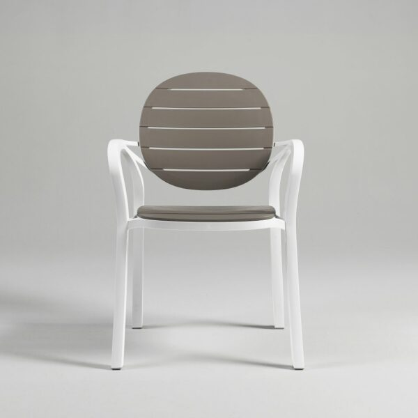 NARDI Palma Outdoor Chair in Taupe & White (Front View)