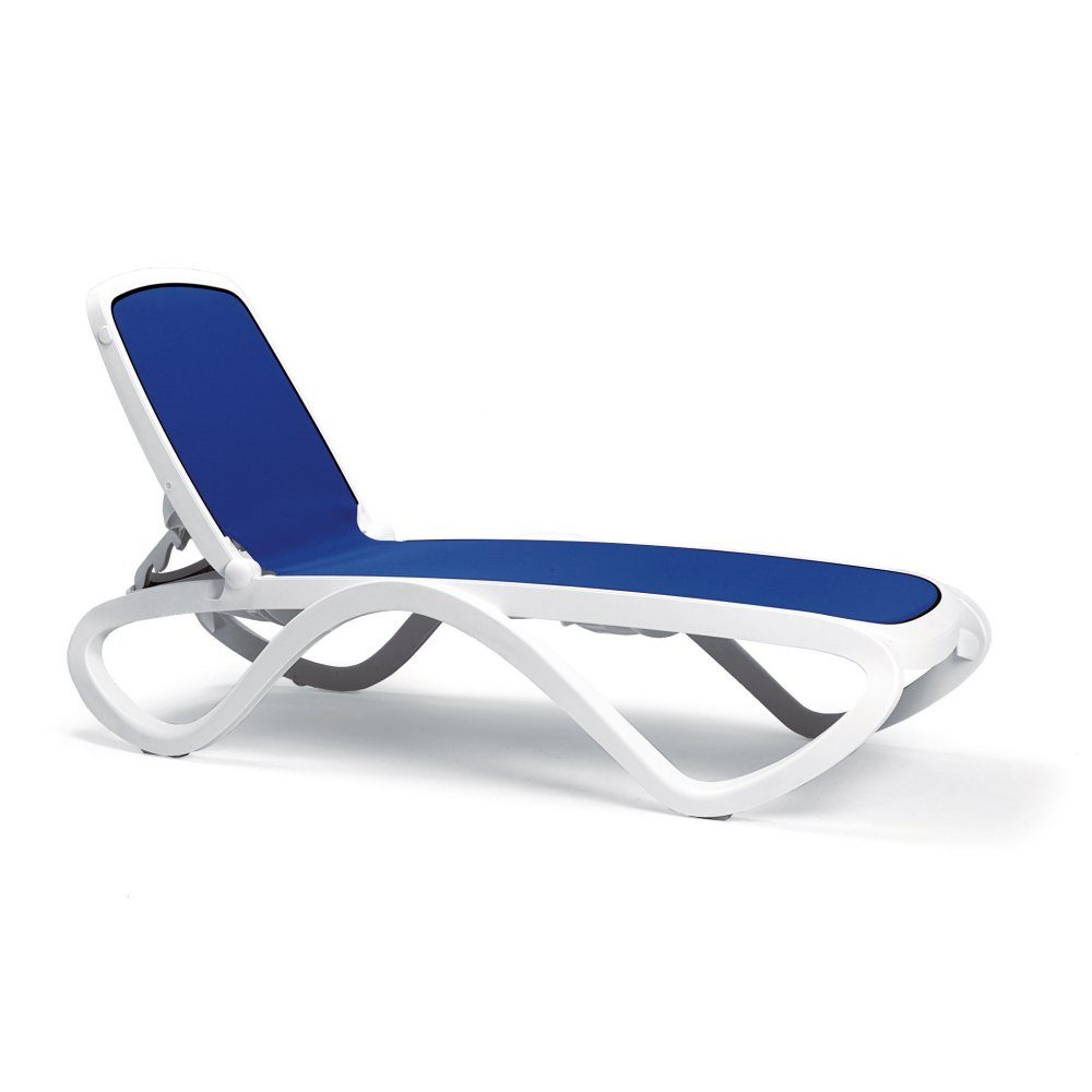Omega Sun Lounger – White Frame & Blue Synthetic Fabric