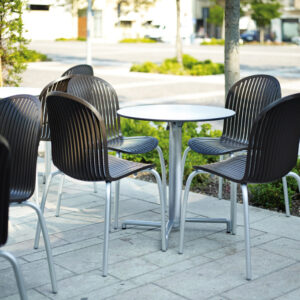 Outdoor Cafe Setting - Scudo Table Base with Ninfea Chairs