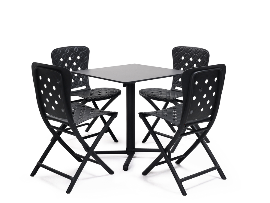 Scudo Folding Table base with HPL top & Zac Chairs
