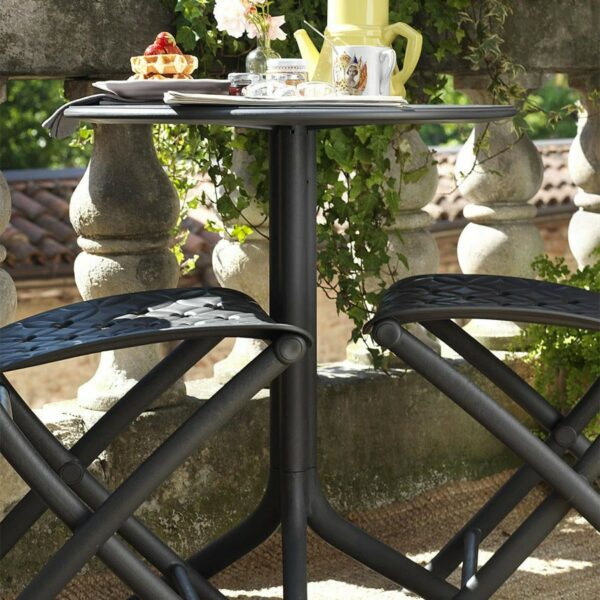Spritz Patio Table (Pictured in Charcoal on Patio)