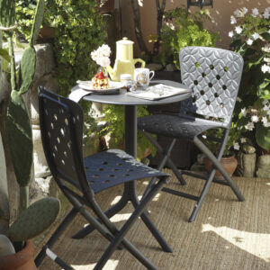 Spritz Table & Zac Spring Chairs on Patio - Charcoal