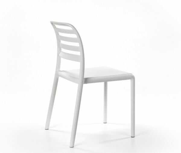NARDI The Costa Bistro Chair in White (Profile View Focus on Back)
