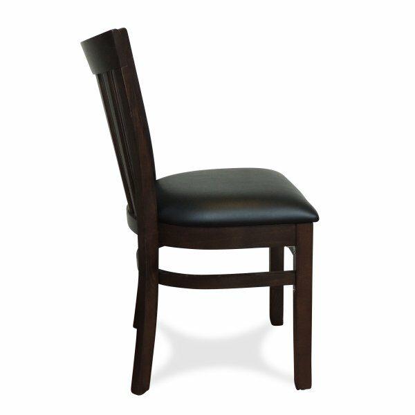 Windsor Wooden Dining Chair - Dark Walnut (Profile View)
