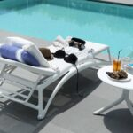 Atlantico Sun Lounger – White (Pictured by pool with Spritz Side Table)