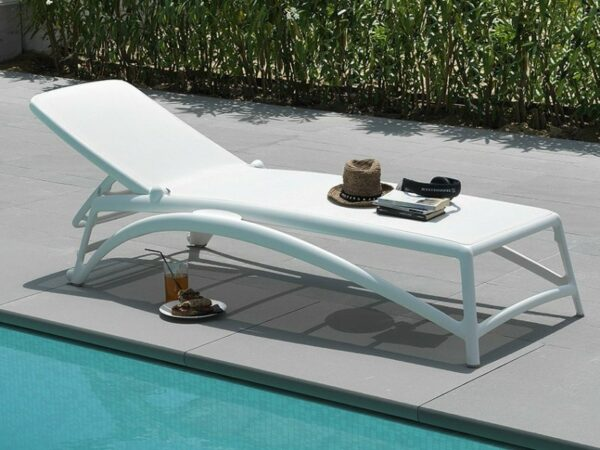 Atlantico Sun Lounger in White by Pool