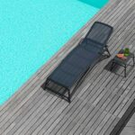 Atlantico Sun Lounger and Pop Side table on Wooden Deck next to Pool in Charcoal