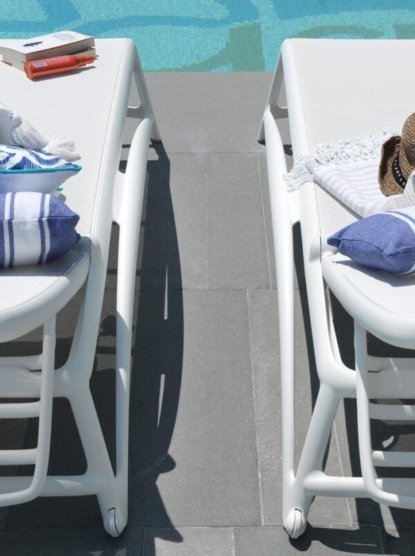 Atlantico Sun Loungers in White Poolside