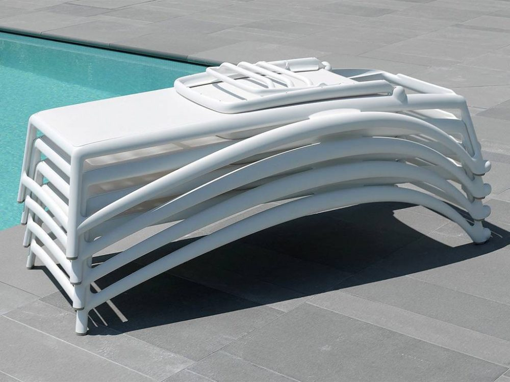 Atlantico Sun Loungers – White (Pictured in a Stack, for Storage)