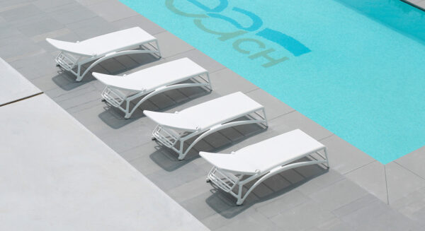 Four Atlantico Sun Loungers in White (Pictured from an overhead angle)
