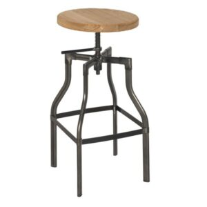 Torque Industrial Bar Stool - Natural Wood & Black Steel