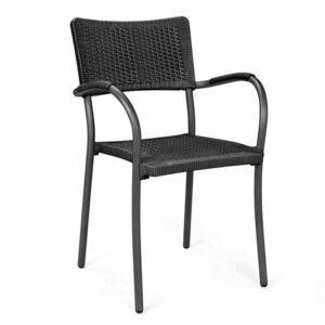 Artica Wicker Dining Chair - Charcoal & Charcoal Legs