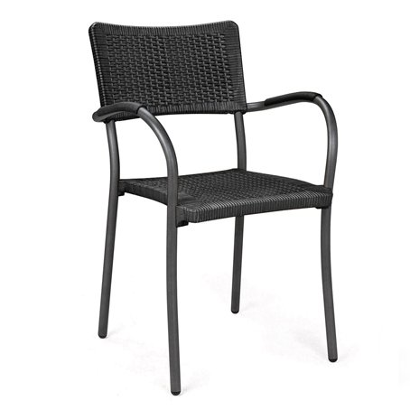 Artica Wicker Dining Chair – Charcoal & Charcoal Legs