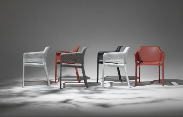 NARDI Net Chairs in White, Taupe, and Coral Red