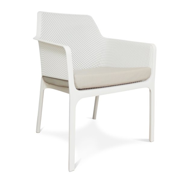 Net Relax Lounge Chair - White with Grey Cushion