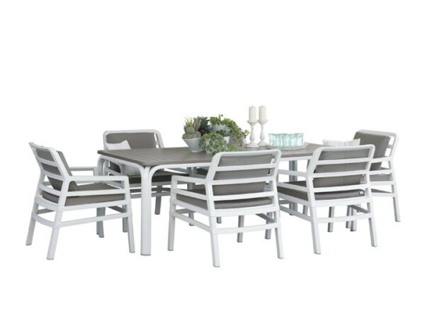 Aria Alloro 7 Piece Dining Setting – White & Taupe, White background