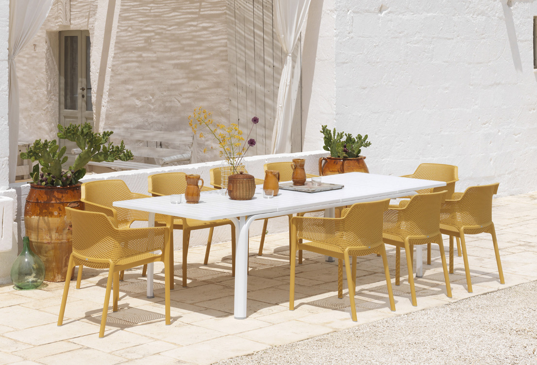 Garden dining setting net alloro 9 piece bydezign nz ltd for Outdoor furniture italy