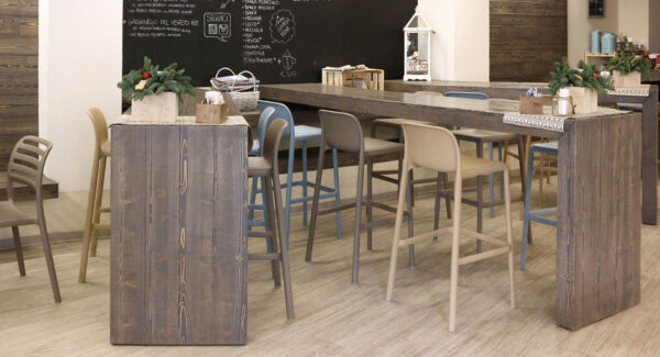 NARDI Faro Tall Bar Stools at indoor wooden bench in Taupe, Blue and Avana
