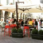 Faro Tall Bar Stools Red and Taupe Outdoor Street Cafe