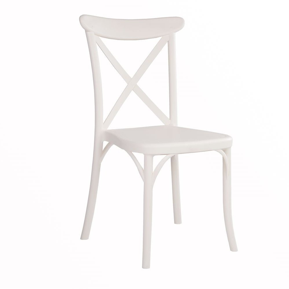 Cross-back Chair - Ivory White