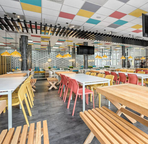 NARDI Bit Chairs in Mustard and Coral Red in food court