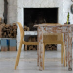 Bit Chairs in Mustard at rustic hall table