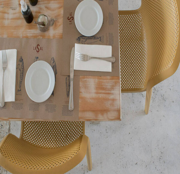 NARDI Bit Chairs in Mustard from above with set table