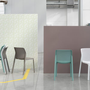 Bit Chairs in White, Taupe & Spearmint – Showroom Photo