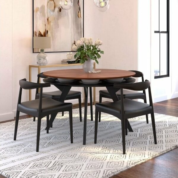 ByDezign Elbow Chair Replica - Black around Dining Table
